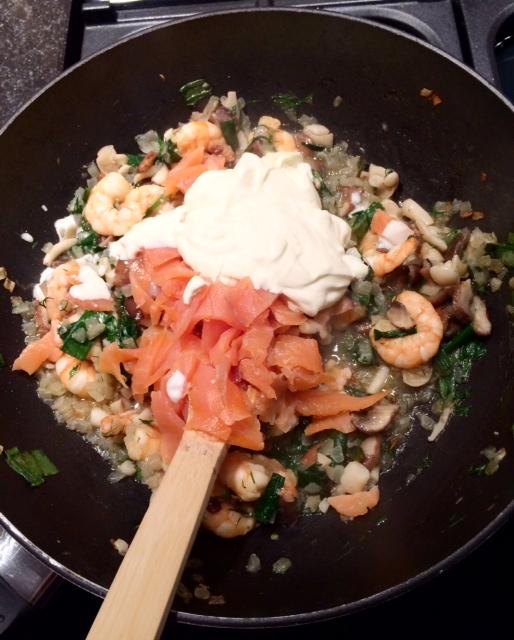 Recipe Tagliatelle with Shrimp and Salmon
