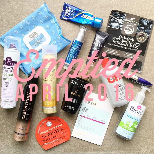Emptied Beauty products April 2016
