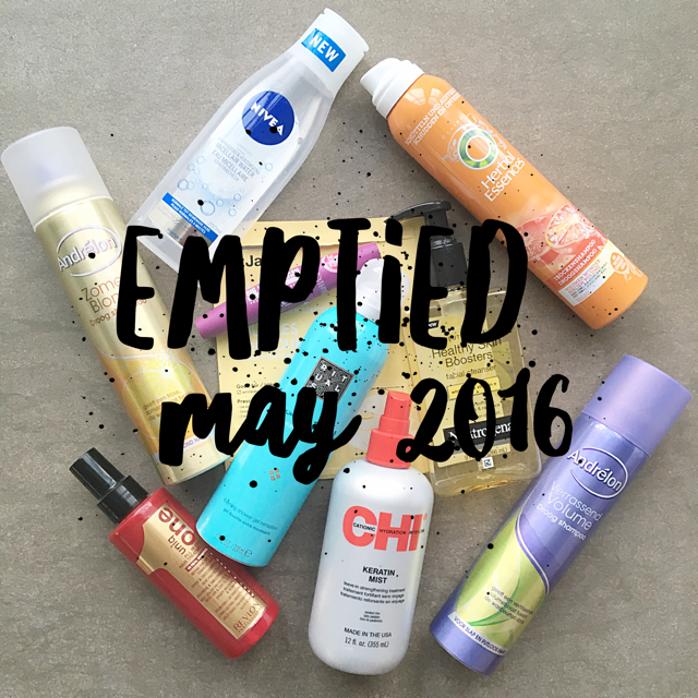 Emptied beauty products May 2016