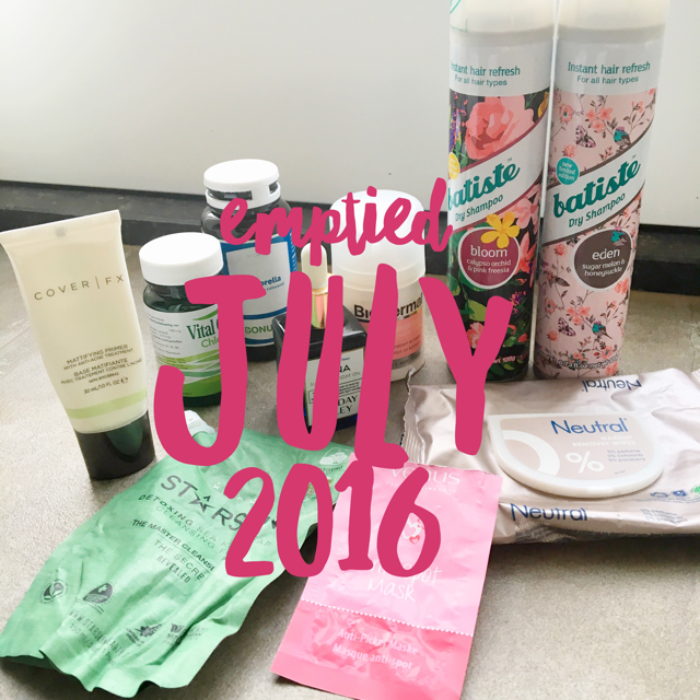 Emptied beauty products July 2016
