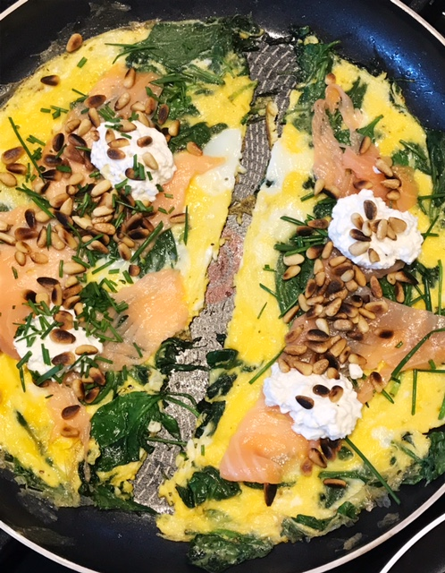 Recipe Spinach Omelet with Salmon
