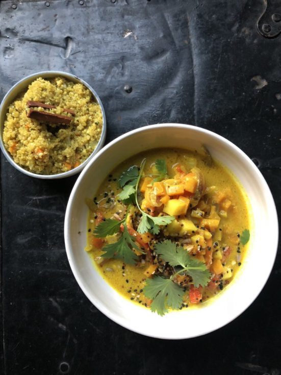 Recipe. Curry of winter vegetables