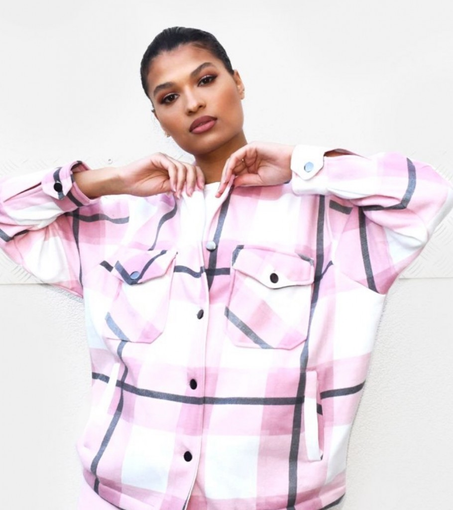 Pink Checked Pocket Front Shacket