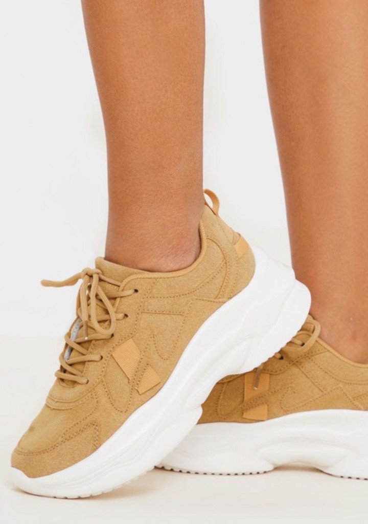 Sand Faux Suede Chunky Bubble Sole Sneakers